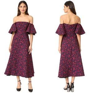 Jill Stuart black pink jacquard off shoulder gown